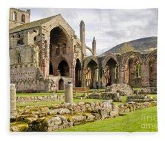 Ruins. Melrose Abbey. Fleece Blanket