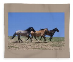 Running Free- Wild Horses Fleece Blanket
