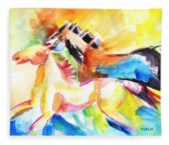 Running Horses Color Fleece Blanket