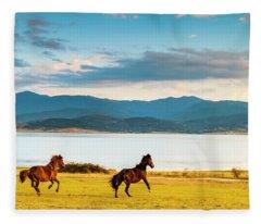 Running Horses Fleece Blanket