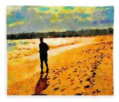 Running In The Golden Light Fleece Blanket