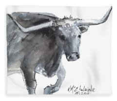 Running Texas Longhorn Watercolor Painting By Kmcelwaine Fleece Blanket