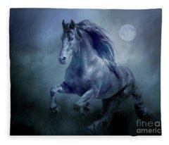 Running With The Moon Fleece Blanket