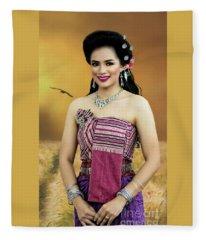 Rural Folk Fashion Girl Fleece Blanket