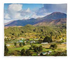 Rural Landscape With Mountains And Valley Village Fleece Blanket