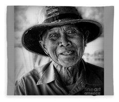 Rural Rice Farmer Fleece Blanket