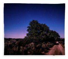 Rural Starlit Road Fleece Blanket