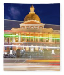 Rush Hour In Front Of The Massachusetts Statehouse Fleece Blanket