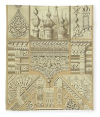 Russian, Architectural Ornaments And Wood Carvings Fleece Blanket