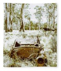 Rustic Australian Car Landscape Fleece Blanket