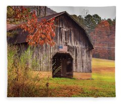 Rustic Barn In Autumn Fleece Blanket