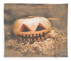Rustic Barn Pumpkin Head In Horror Fog Fleece Blanket