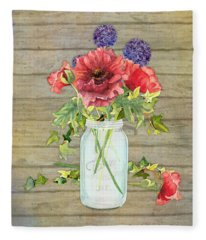 Rustic Country Red Poppy W Alium N Ivy In A Mason Jar Bouquet On Wooden Fence Fleece Blanket