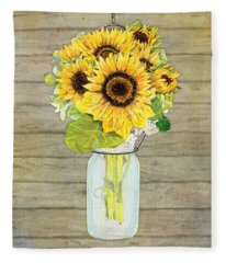 Rustic Country Sunflowers In Mason Jar Fleece Blanket