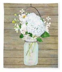 Rustic Country White Hydrangea N Matillija Poppy Mason Jar Bouquet On Wooden Fence Fleece Blanket
