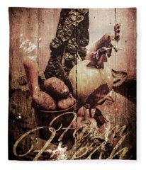 Rustic Kitchen Tin Sign Fleece Blanket