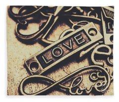 Rustic Love Icons Fleece Blanket