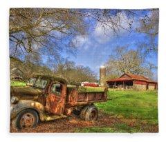Rusty 1947 Dodge Dump Truck Fleece Blanket