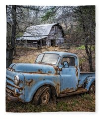 Rusty Blue Dodge Fleece Blanket
