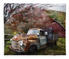 Rusty Chevy Pickup Truck Fleece Blanket