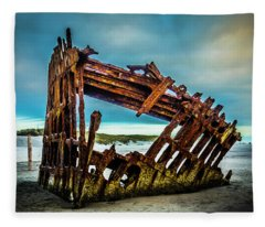 Rusty Forgotten Shipwreck Fleece Blanket
