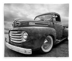 Rusty Jewel In Black And White - 1948 Ford Fleece Blanket