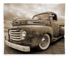 Rusty Jewel In Sepia - 1948 Ford Fleece Blanket