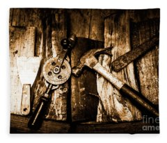 Rusty Old Hand Tools On Rustic Wooden Surface Fleece Blanket