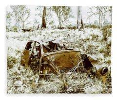 Abandoned Car Fleece Blankets