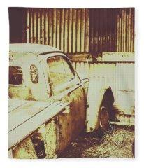 Rusty Pickup Garage Fleece Blanket