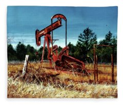 Rusty Pump Jack Fleece Blanket