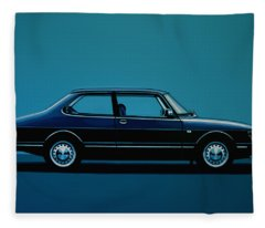 Saab 90 1985 Painting Fleece Blanket