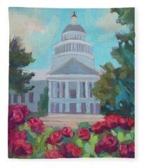 Sacramento Capitol And Roses Fleece Blanket