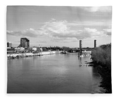Sacramento River And Tower Bridge 1985 Fleece Blanket