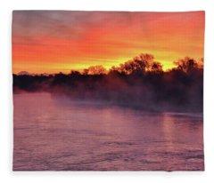Sacramento River Sunrise Fleece Blanket