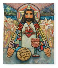 Sacred Heart Of Jesus Fleece Blanket