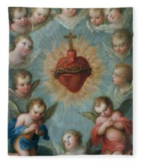 Sacred Heart Of Jesus Surrounded By Angels Fleece Blanket