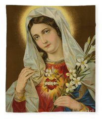Sacred Heart Of The Virgin Mary Fleece Blanket