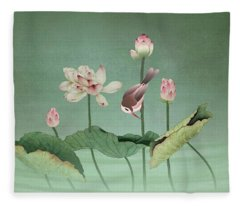 Sacred Lotus Flower Fleece Blanket