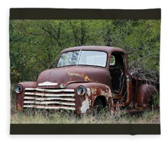 Sad And Lonely Abandoned Chevy Truck Fleece Blanket