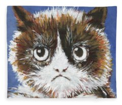 Sad Cat Fleece Blanket