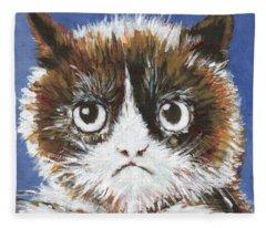 Sad Cat Fleece Blanket