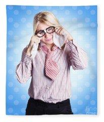 Sad Worker In Business Trouble Fleece Blanket