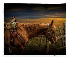 Saddle Horse On The Prairie Fleece Blanket