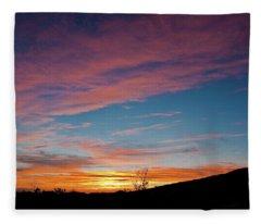 Saddle Road Sunset Fleece Blanket