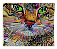 Sadie The Colorful Abstract Cat Fleece Blanket