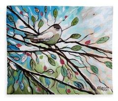 Sage Glimmering Songbird  Fleece Blanket