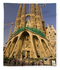 Sagrada Famila In The Fading Sun. Fleece Blanket