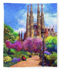 Sagrada Familia And Park Barcelona Fleece Blanket