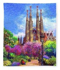 Sagrada Familia And Park Barcelona Fleece Blanket